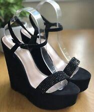 Carvela Kurt Geiger Black Faux Suede Platform Wedge Sandals Shoes Size 7/41