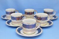 PEARL CHINA SET OF 6  CUPS AND SAUCERS BLUE IRIDESCENT GOLD