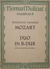 W.A. Mozart  Duo in B dur, f. Violine u. Viola, Hortus musicus 113, gebraucht