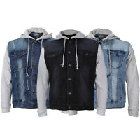 Men's Premium Distressed Denim Ripped Stretch Jean Jacket with Removable Hood