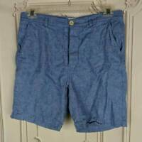 Max N Chester Mens 34 Chino Shorts Blue Flat Front Pocket Button Fly Linen Blend