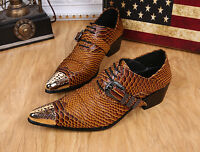 Hot Men's Snake Skin Print Metal Leather Buckle Dress Formal Retro Hees Shoes Sz