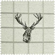 Animal Stag Head Checked Grey Beige Tapestry Quality Chenille Upholstery Fabric