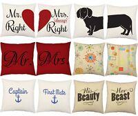 2pc Assorted Decorative Throw Pillow Cover Sham Set Indoor Cotton Outdoor Pair