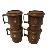 Set of 4 Vintage Tupperware Stackable Mugs Coffee Cups #1312Brown Coasters lid