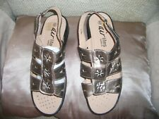 """ladies shoes AIRLITES COMFORT FIT bronze touch fstning sandal 1 1/2"""" heel BNWT"""