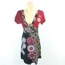 DESIGUAL Kleid Dress Print Rot Schwarz Gr. S 36 (BF9)