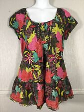 YOURS Ladies Tunic Top Size 22 / 24 Multi Coloured Floral Cotton Holiday Summer