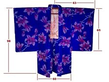 Lovely Vintage Purple & Blue Meisen Silk Floral Design Naga-Haori: 'Mokuren'