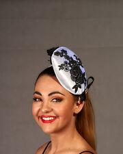 White Satin Fascinator with Black Flowers - Made in Brisbane - BNWT