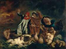 Delacroix The Barque of Dante In the Underworld Painting Real Canvas Art Print
