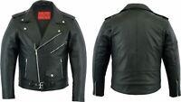 Men's Leather Brando Classic Fashion Motorcycle Scooter Bike Jacket