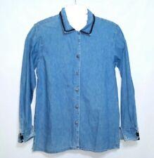 Ruff Hewn American Wear Denim Shirt L/S Embroidered Collar French Cuff Women's S