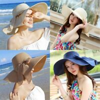 Summer Large Brim Straw Hat Floppy Wide Brim Sun Cap Bowknot Beach Foldable New