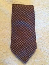 CHRISTIAN DIOR MEN'S NECK TIE BURGUNDY WITH TINY GREEN & WHITE PATTERN NICE