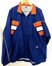 Adidas Mens Zip Front Windbreaker Jacket Size L Large Color Block Blue Orange