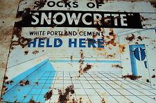 SNOWCRETE CEMENTVINTAGE Original Porcelain Enamel Sign 1940s