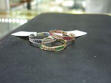 apilable 3 anillos amarillo/blanco/Rosa 14k DIAMANTE ORO ZAFIRO RUBÍ Tamaño