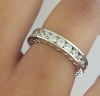 2 CT Round Eternity 3.5 mm Wedding Band Channel Set Ring 14K White Gold