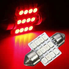 1X RED 31mm Festoon Dome Map Interior 12 SMD LED Car Bulb Light Lamp DC 12V NEW