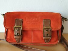 COACH Red Suede Small Crossbody Bag Purse - Authentic