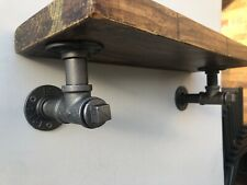Industrial Steampunk Rustic and Antiqued Pipe Work Plugged Shelf Brackets o