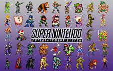 A4 Retro Gaming Posters - SNES & SEGA Characters (Zelda Mario Sonic Megaman)