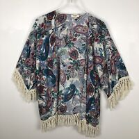 Umgee Women's Boho Macrame Fringe Paisley Floral Kimono Size Medium/Large