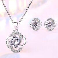 925 Sterling Silver Crystal Swirl Necklace Stud Earrings Womens Girls Jewellery