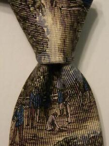 ROBERT TALBOTT Best of Class Men's Silk Necktie Designer FARMING Brown/Ivory EUC