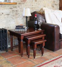 La Roque Premium Solid Mahogany Dark Wood Nest of Coffee Tables