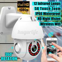5X Zoom Waterproof WiFi PTZ Pan Tilt 1080P HD Security IP IR Camera Night  C