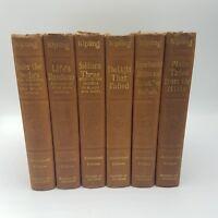 RUDYARD KIPLING Antique Lot of 6 Books Authorized Edition Swastika