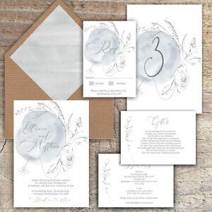 Personalised Luxury Rustic Wedding Invitations GREY & WHITE WREATH PK 10