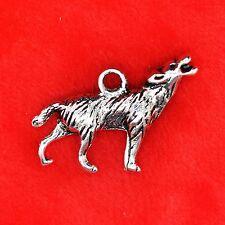 6 x Tibetan Silver Howling Wolf Harry Potter Twilight Beading Jewellery Making