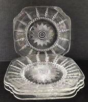 "Vintage Federal Depression Glass Square Square Plates 9"" Bubble Starburst (4)"