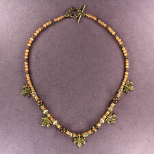 AUTUMN LEAVES NECKLACE Maple Tree Catseye Beads Gold Brown Thanksgiving Fall