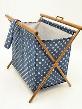 Vintage Blue Fabric and Wood Magazine Rack Portable Folds Flat