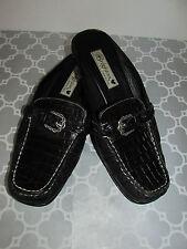 Brighton Size 8 Black Andie Crocodile Leather Flat Mule Slip On Shoes