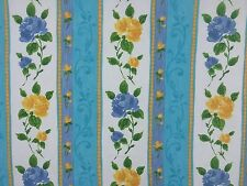 5m Floral Flowers Blue/Yellow Roses Striped Kitchen Curtains Cotton Duvet Fabric