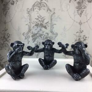 Set of Three Wise Monkeys Ornament Antique Silver Separate Figurines Luxe Decor