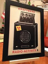 "FRAMED ORIGINAL KRAFTWERK ""RADIO-ACTIVITY"" LP ALBUM CD & 45 SINGLE PROMO AD"