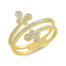 0.25 CT 14K Yellow Gold Natural Round Diamond Butterfly Jewelry Ring Cocktail