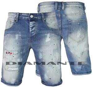 Bermuda Jeans uomo Denim strappati con pittura pantaloncino corto nuovo 257