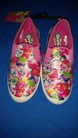 NWT Shopkins Limited PINK Multi-color Slip On CANVAS Shoes GIRLS size 13, 1, 2 3