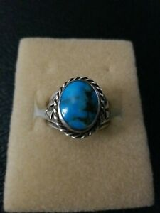 Native American Sterling Silver And Turquoise Ring Size 101/2