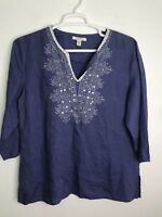 JM Collection Womens Tunic V-Neck Top Embroidered Sequin 100% Linen Purple 14