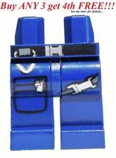 ☀️NEW Lego Legs Pants DARK BLUE metal strap zipper pocket belt police swat space