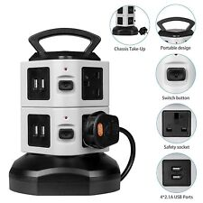 2M 6 WAY 6 GANG SURGE PROTECTED TOWER SOCKET EXTENSION LEAD CABLE & 4 USB 2.1A