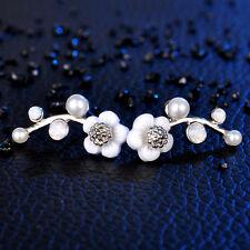 Charm Elegant Glaze Shell Flower Pearl Crystal Sliver Filled Ear Stud Earrings